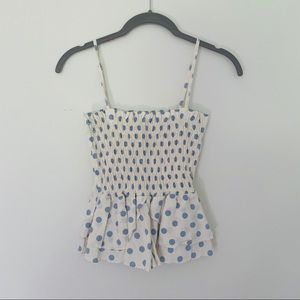 Blue and White polka dot Zara tank